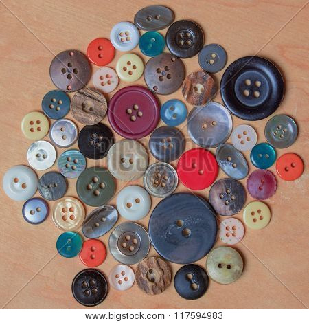 Assortment Of Different Buttons In Several Colors