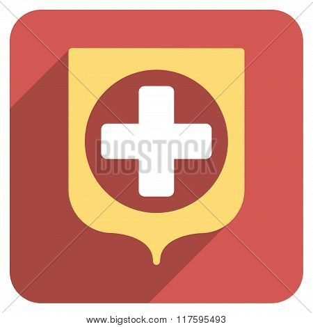 Medical Shield Flat Rounded Square Icon with Long Shadow