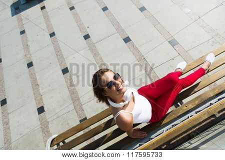 Teenager girl having time in outdoors