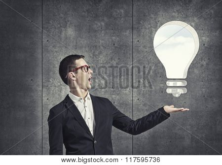 Guy presenting bright idea