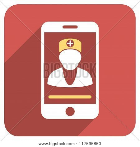 Online Doctor Flat Rounded Square Icon with Long Shadow