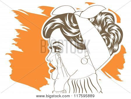 Pop Art Illustration Of Girl