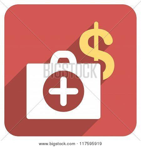 Payment Healthcare Flat Rounded Square Icon with Long Shadow