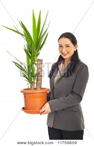 Woman Holding Vase With Yucca Plant