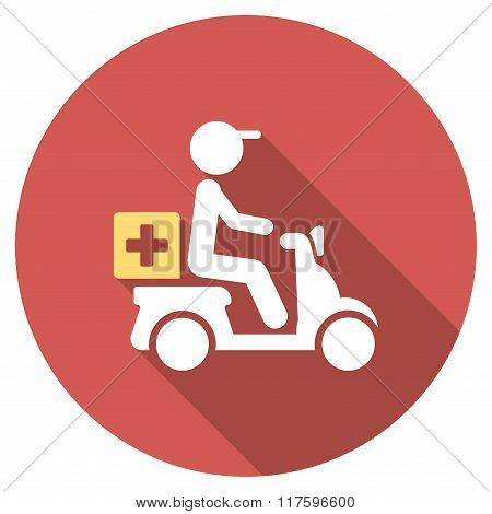 Drugs Motorbike Delivery Flat Round Icon with Long Shadow