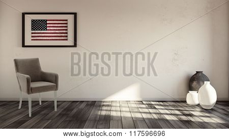 Rustic interior with usa flag framed on the wall and armchair underneath