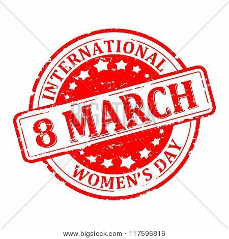 Damaged Round Red Stamped - International Women's Day 8 March - Vector