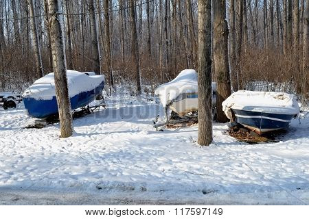 Boats on snow