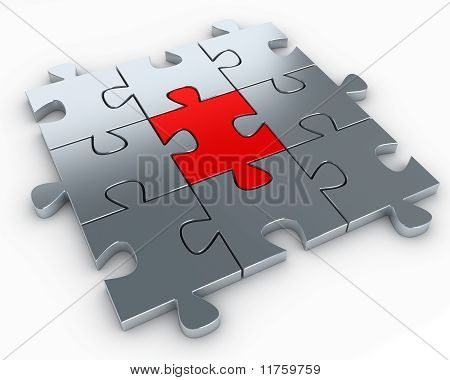 Puzzle pieces, with a red piece in the middle