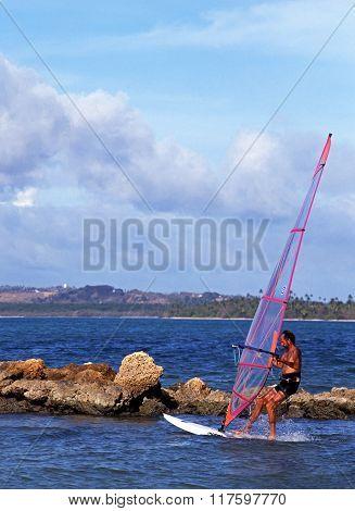 Windsurfing in Tobago.