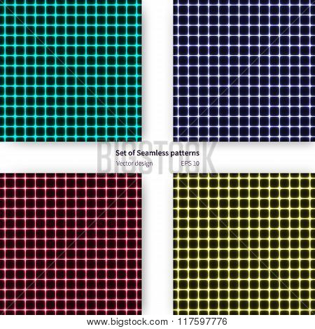 Set Of Seamless Patterns With Plasmatic Cells Design