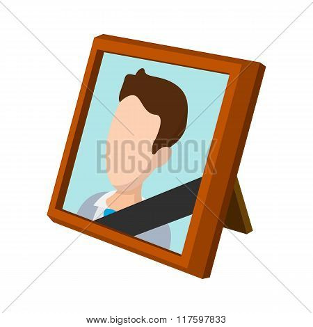 Frame with mourning ribbon cartoon icon