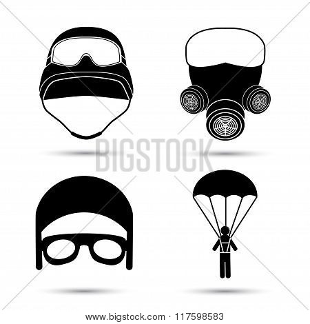 Military Icons. Vector set isolated on white.