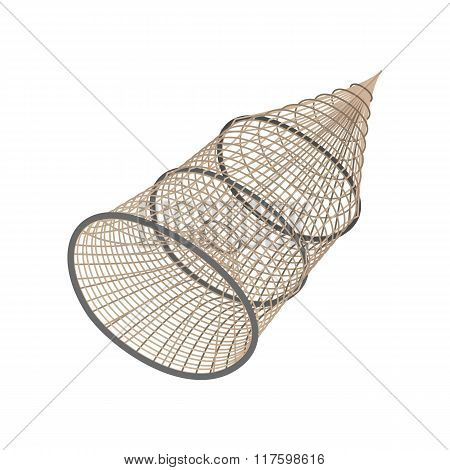 Fishing net coop trap fyke cartoon icon