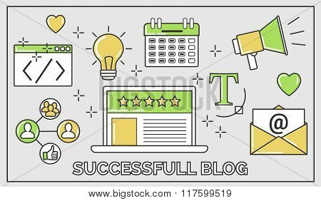 Flat Vector Thin Line Illustration Of How To Establish A Successful 5 Star Blog. It Includes: Newsle