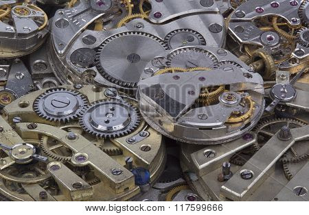 close view of old watches mechanism
