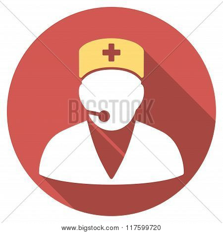 Medical Operator Flat Round Icon with Long Shadow