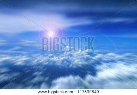 Cloudy Blue Sky With Bright Sunlight