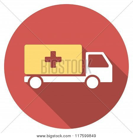 Medical Shipment Flat Round Icon with Long Shadow