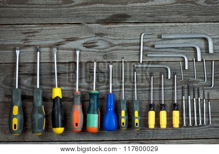 Different Allen Keys And Screwdrivers