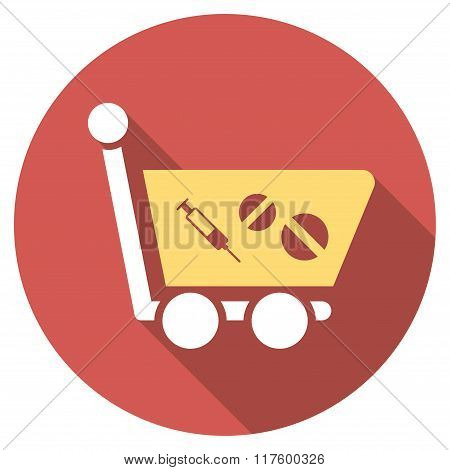 Medication Shopping Cart Flat Round Icon with Long Shadow