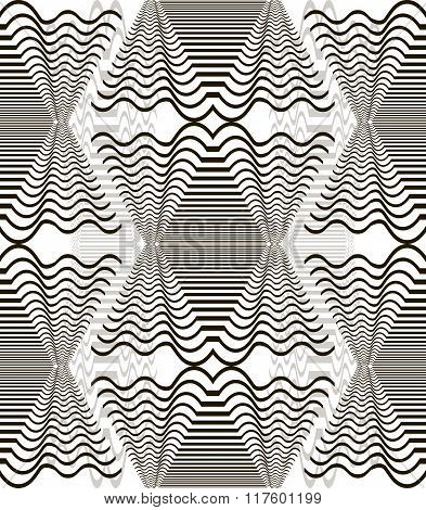 Abstract Seamless Black And White Pattern Of Wavy Shapes