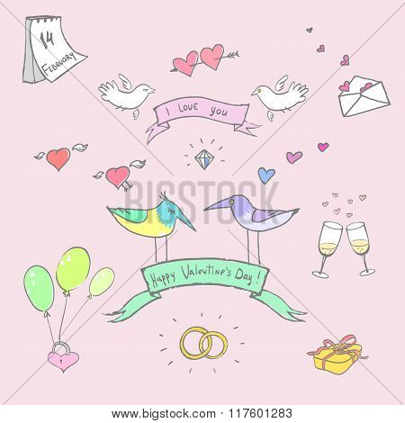 Valentine`s day funny colorful doodle vector set.