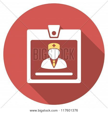 Doctor Badge Flat Round Icon with Long Shadow