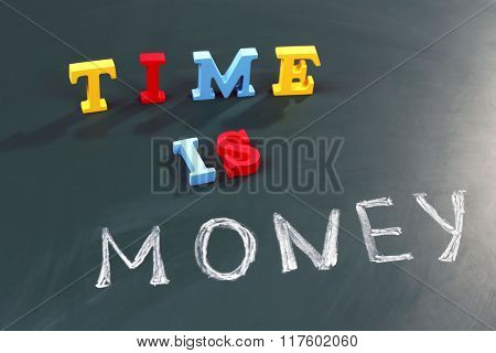 Time is money concept on a blackboard background