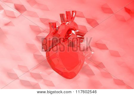 Abstract Red Low Poly Heart