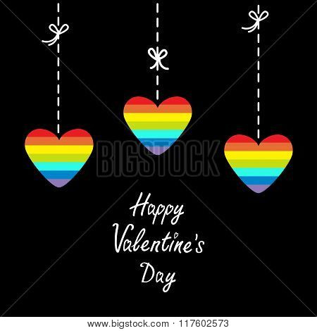 Hanging Rainbow Heart Set.  Dash Line With Bows. Happy Valentines Day. Love Card.  Flat Design.