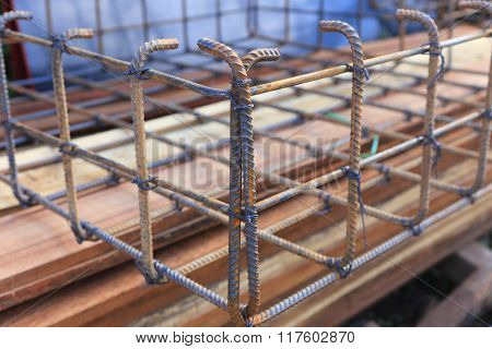 Photo of foundation steel for home building