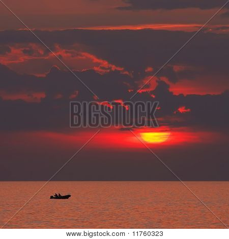 Boat On A Sunset