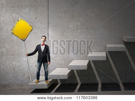 Guy representing progress concept