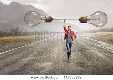 Girl with big glass bulb