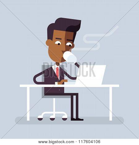 Black man has coffee break with a laptop. Vector.