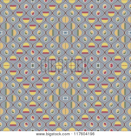 Cute Seamless Pattern In Vintage Colors