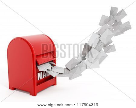 Enveloppes Flying From Red Mailbox