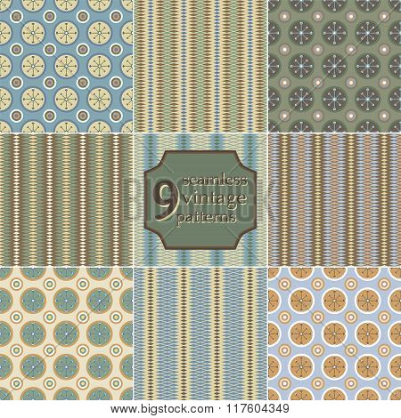 Collection Of 9 Seamless Vintage Patterns