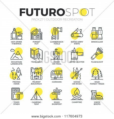 Survival Tourism Futuro Spot Icons