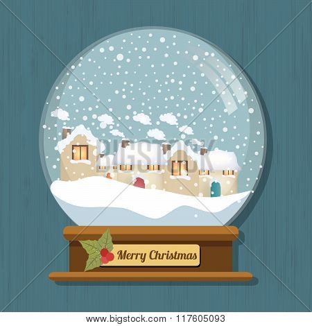 Christmas Snow Globe With Beautiful Houses In It