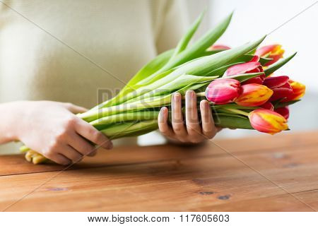 people, holidays and gardening concept - close up of woman holding tulip flowers