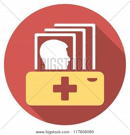Patient Catalog Flat Round Icon with Long Shadow