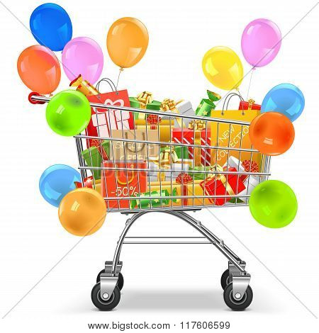 Vector Supermarket Trolley With Gifts