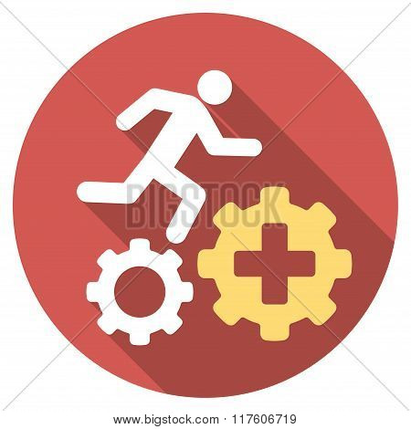 Treatment Process Flat Round Icon with Long Shadow