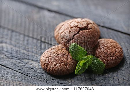 Chocolate chip cookie with mint, closeup