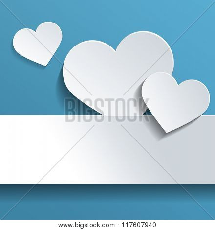 Conceptual White Heart Shapes with Copy Space Against Sky Blue Background for Valentines Day Celebration. 3d Rendering.