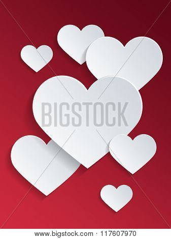 Simple White Heart Shapes Against Red Background for Valentines Day Concept. 3d Rendering.