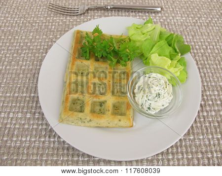 Herb-waffles with cream cheese dip and salad