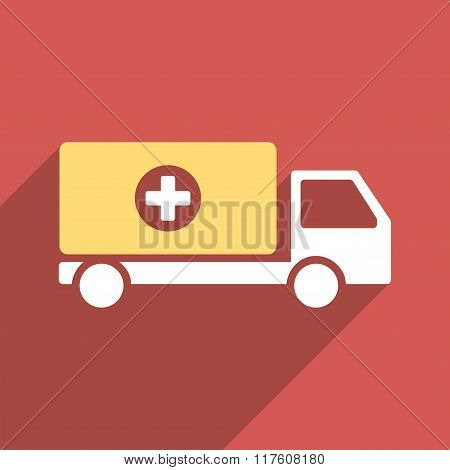 Drugs Shipment Flat Square Icon with Long Shadow